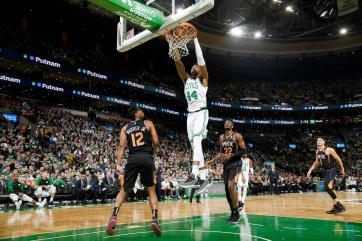 BOSTON, MA - DECEMBER 19: Robert Williams #44 of the Boston Celtics dunks the ball against the Phoenix Suns on December 19, 2018 at the TD Garden in Boston, Massachusetts. NOTE TO USER: User expressly acknowledges and agrees that, by downloading and or using this photograph, User is consenting to the terms and conditions of the Getty Images License Agreement. Mandatory Copyright Notice: Copyright 2018 NBAE (Photo by Brian Babineau/NBAE via Getty Images)